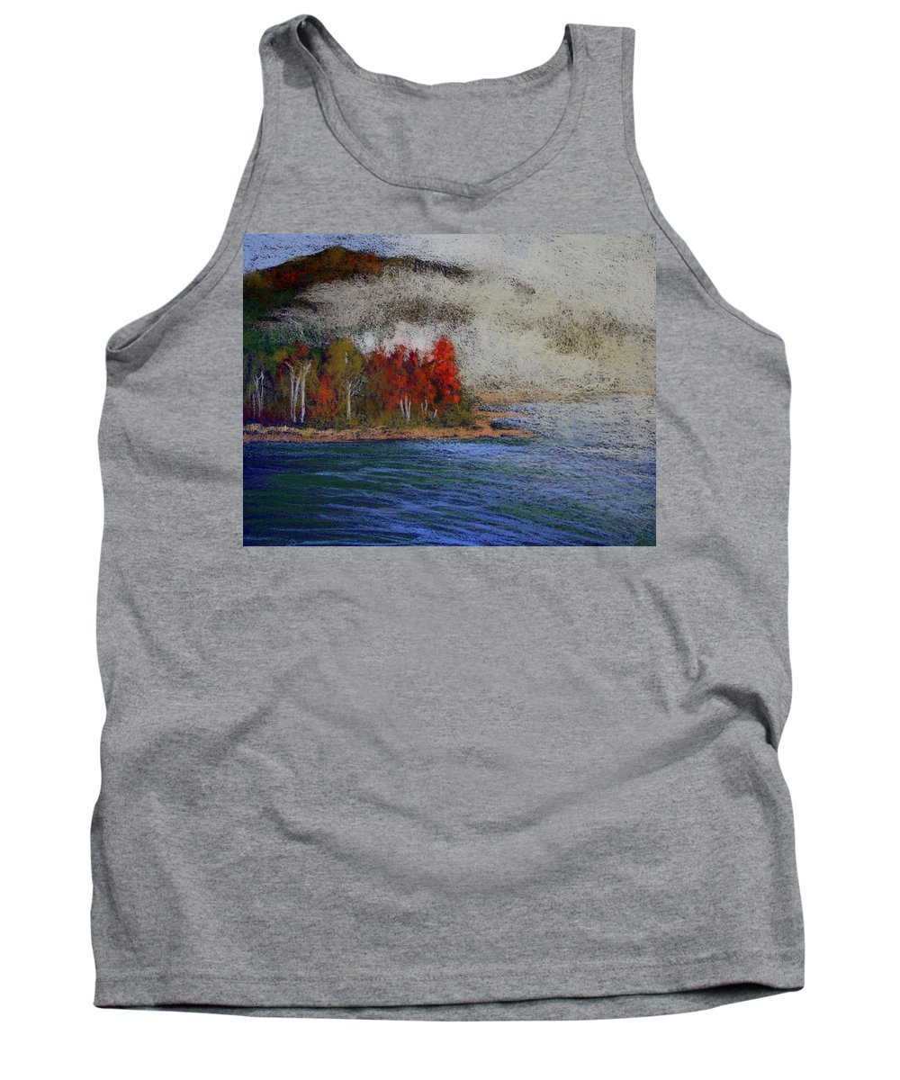 Nature Tank Top featuring the painting Goff Point Fog by Kitty Harvill