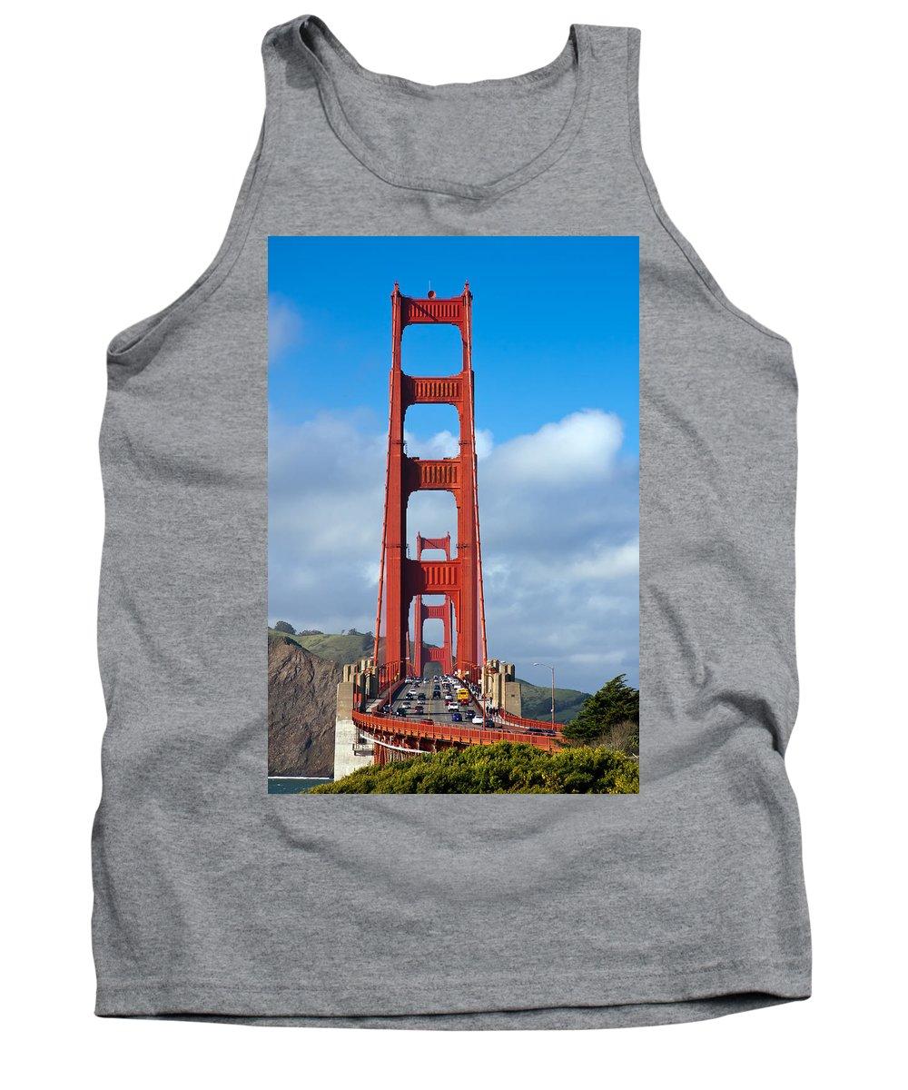 3scape Tank Top featuring the photograph Golden Gate Bridge by Adam Romanowicz