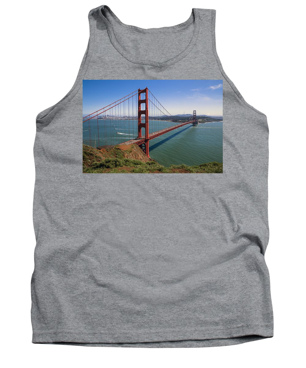 Golden Gate Bridge Tower Blue Sky Tank Top featuring the photograph Golden Gate Bridge by Garry Gay
