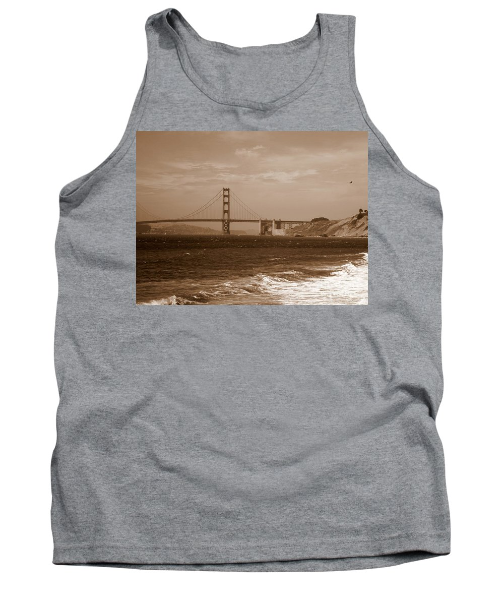 Golden Gate Bridge Tank Top featuring the photograph Golden Gate Bridge With Surf Sepia by Carol Groenen