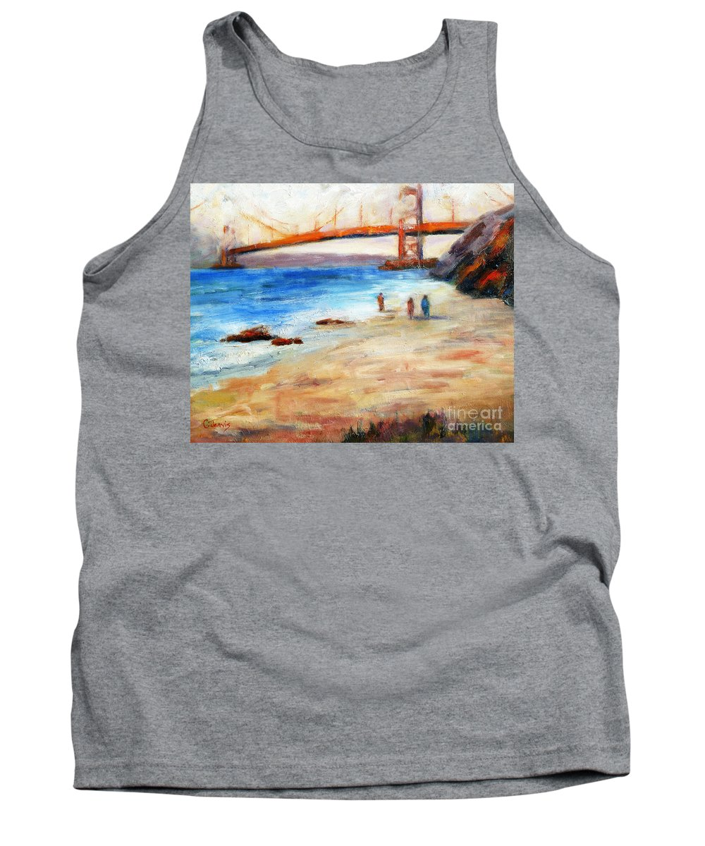San Francisco Tank Top featuring the painting Golden Gate Stroll by Carolyn Jarvis