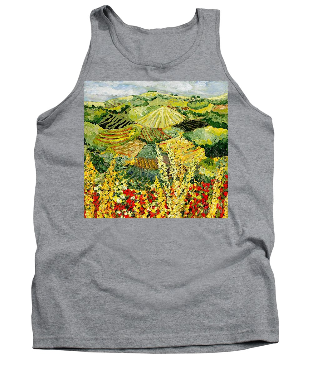 Landscape Tank Top featuring the painting Golden Hedge by Allan P Friedlander