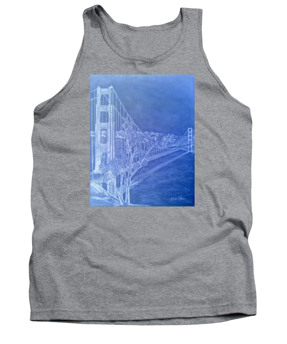 San Francisco; Tank Top featuring the drawing Golder Gate Bridge Inverted by Irving Starr