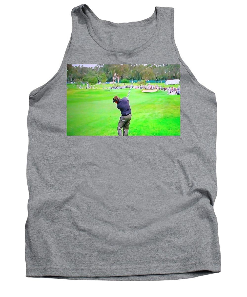 Golf Swing Drive Tank Top featuring the digital art Golf Swing Drive by Dan Sproul
