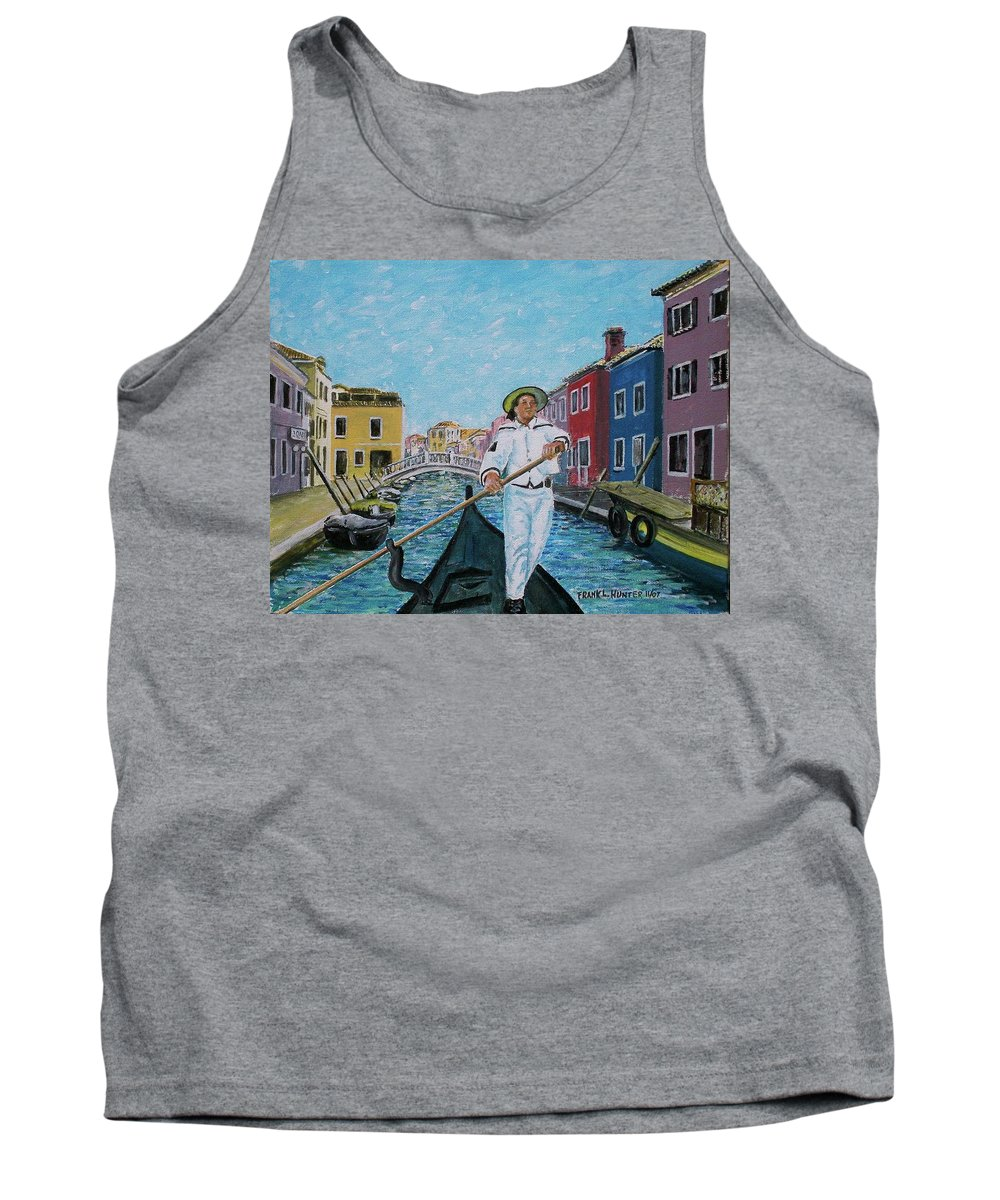 Gondolier Canal Venice Buiildings Tank Top featuring the painting Gondolier At Venice Italy by Frank Hunter
