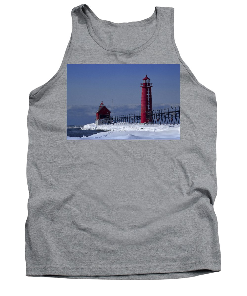 Art Tank Top featuring the photograph Grand Haven Michigan Lighthouse In Winter by Randall Nyhof