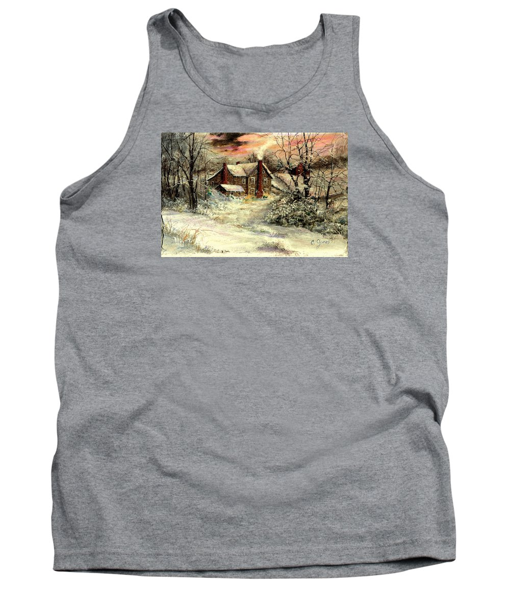 Christmas Tank Top featuring the painting Grandma's House by C Keith Jones