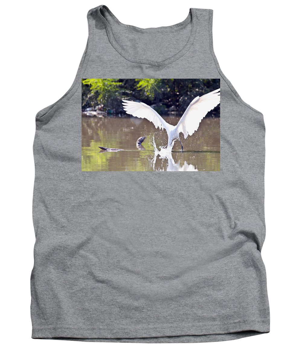 Great Blue Heron Photographs Tank Top featuring the photograph Great White Egret Fishing Sequence 2 by Vernis Maxwell