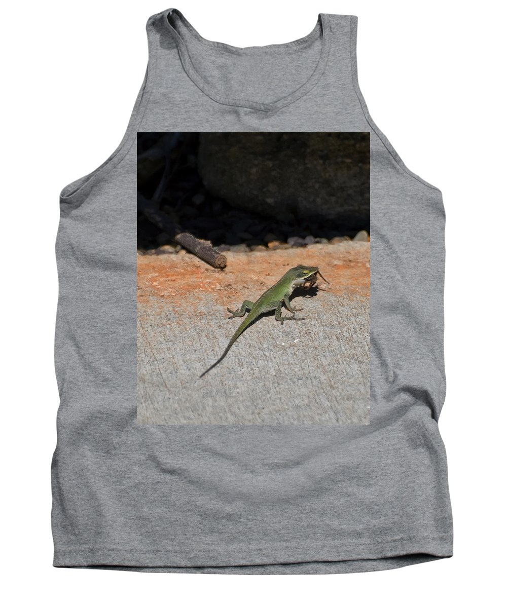 Green Anole Lizard Tank Top featuring the digital art Green Anole Lizard Vs Wolf Spider by Chris Flees