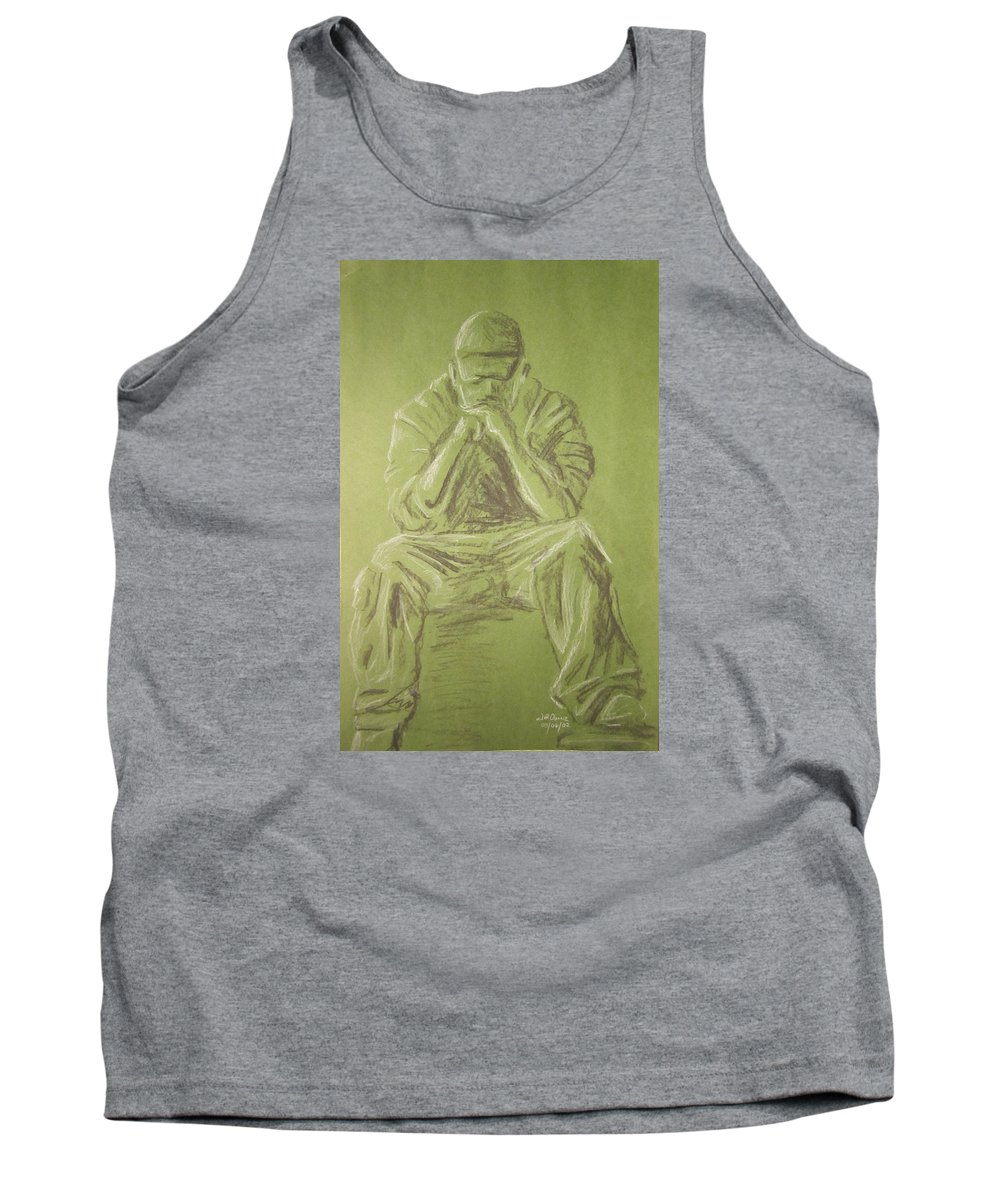 Figure Tank Top featuring the drawing Green Figure I by Jeffrey Oleniacz