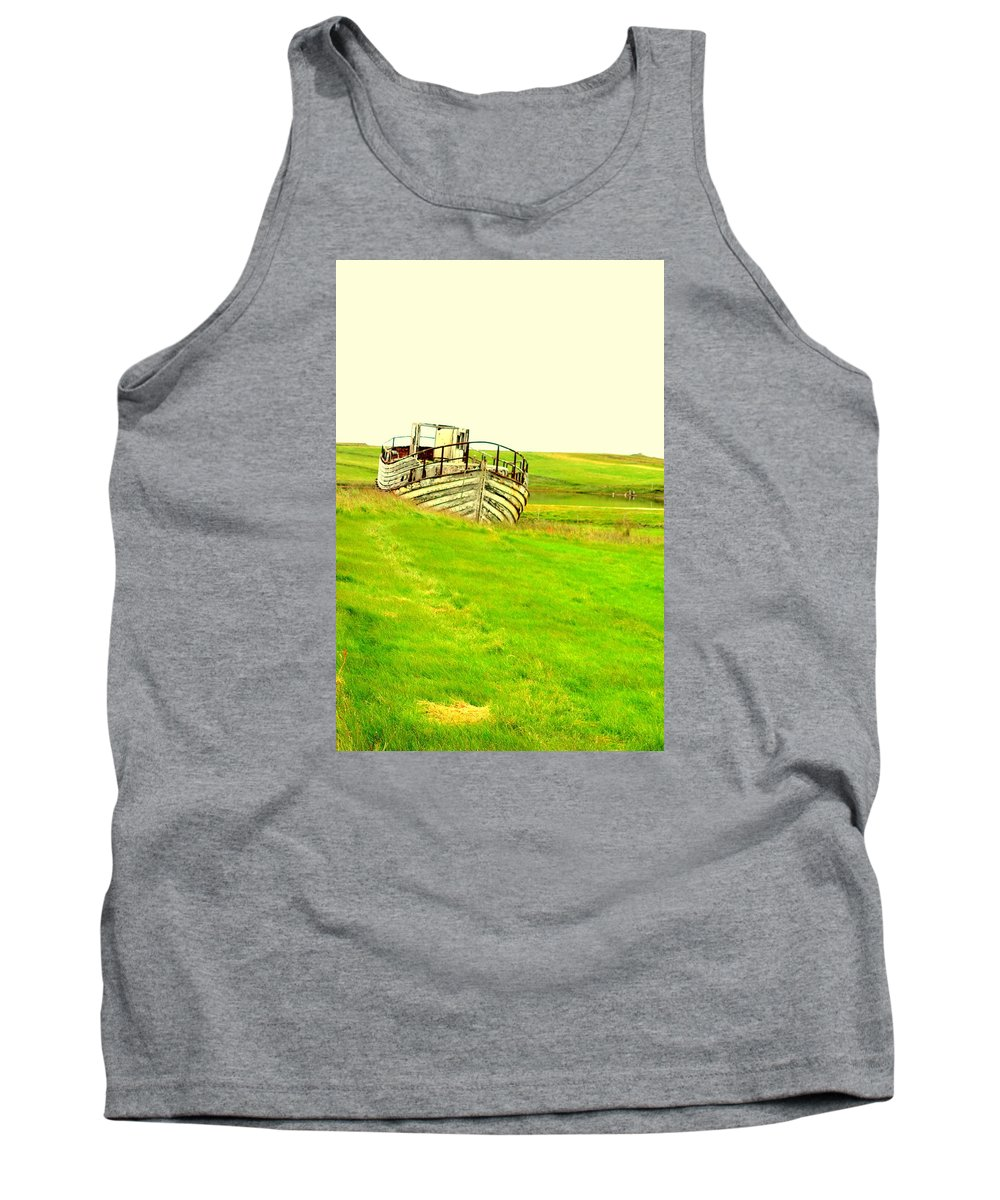 Boat Tank Top featuring the photograph the sea is green but I still wanna go fishing by Hilde Widerberg