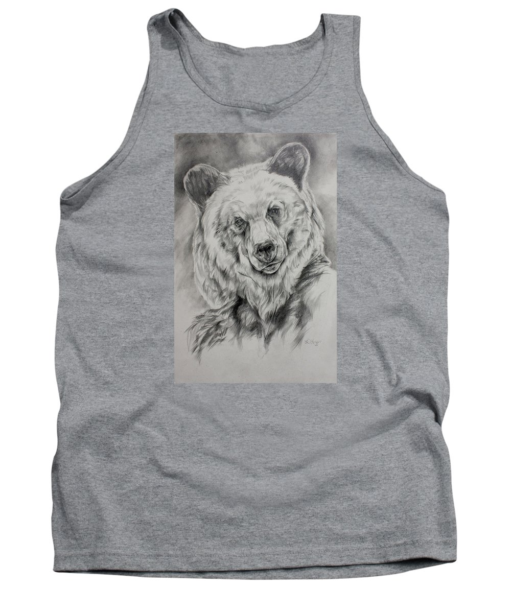 Grizzly Tank Top featuring the drawing Grizzly by Derrick Higgins