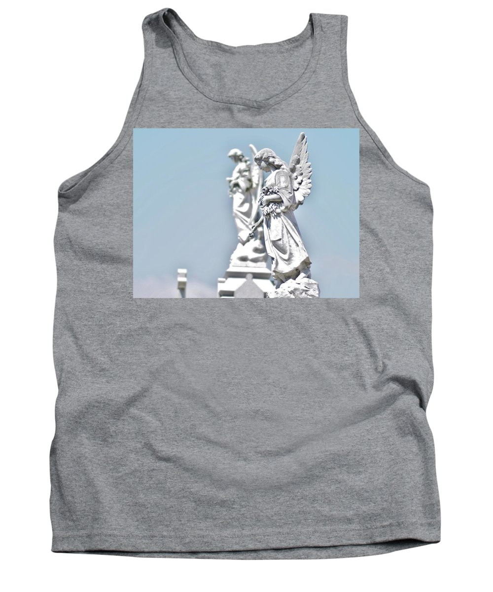 Cemetery Tank Top featuring the photograph Guardian Angels 2 by William Morgan