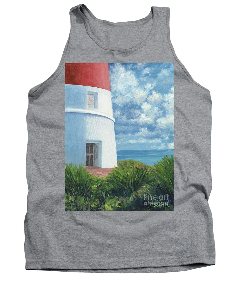 Seascape Tank Top featuring the painting Gun Cay Lighthouse by Danielle Perry