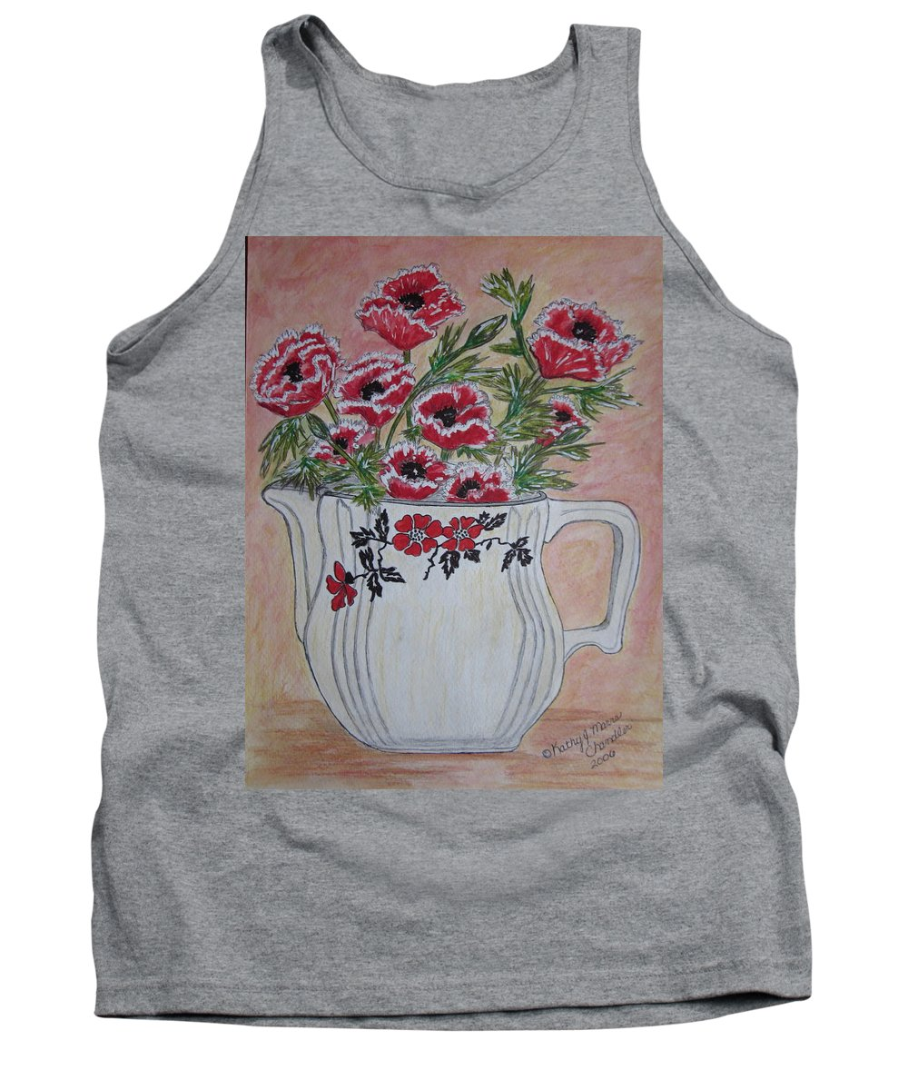 Hall China Tank Top featuring the painting Hall China Red Poppy And Poppies by Kathy Marrs Chandler