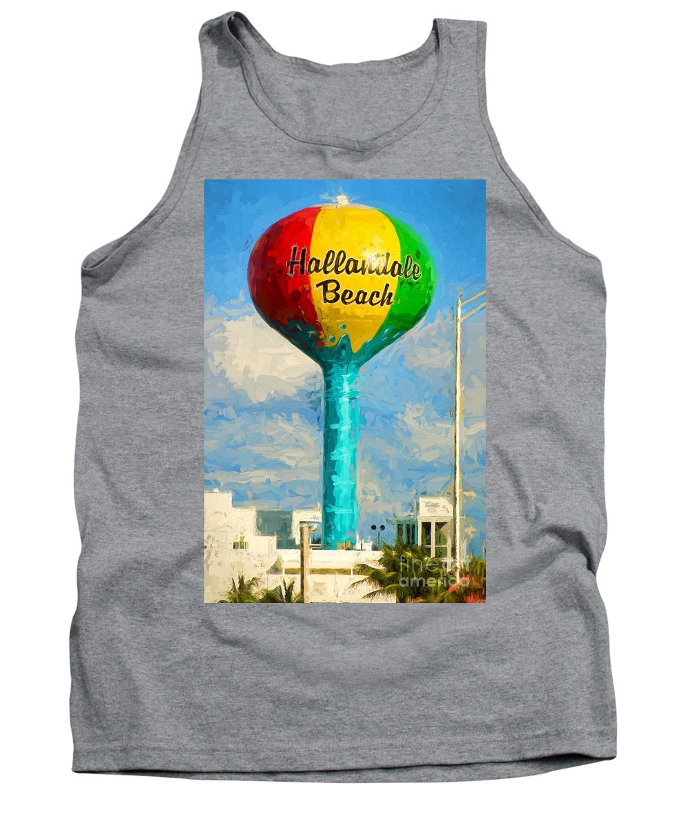 Hallandale Tank Top featuring the photograph Hallandale Beach Water Tower by Les Palenik