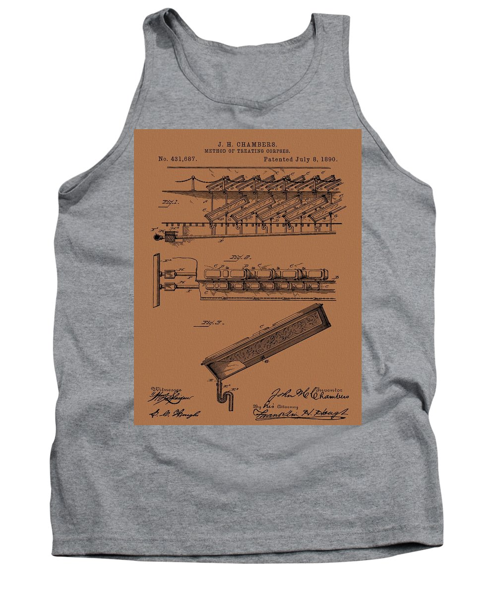 Method Of Treating Corpses Tank Top featuring the mixed media Halloween Coffins by Dan Sproul