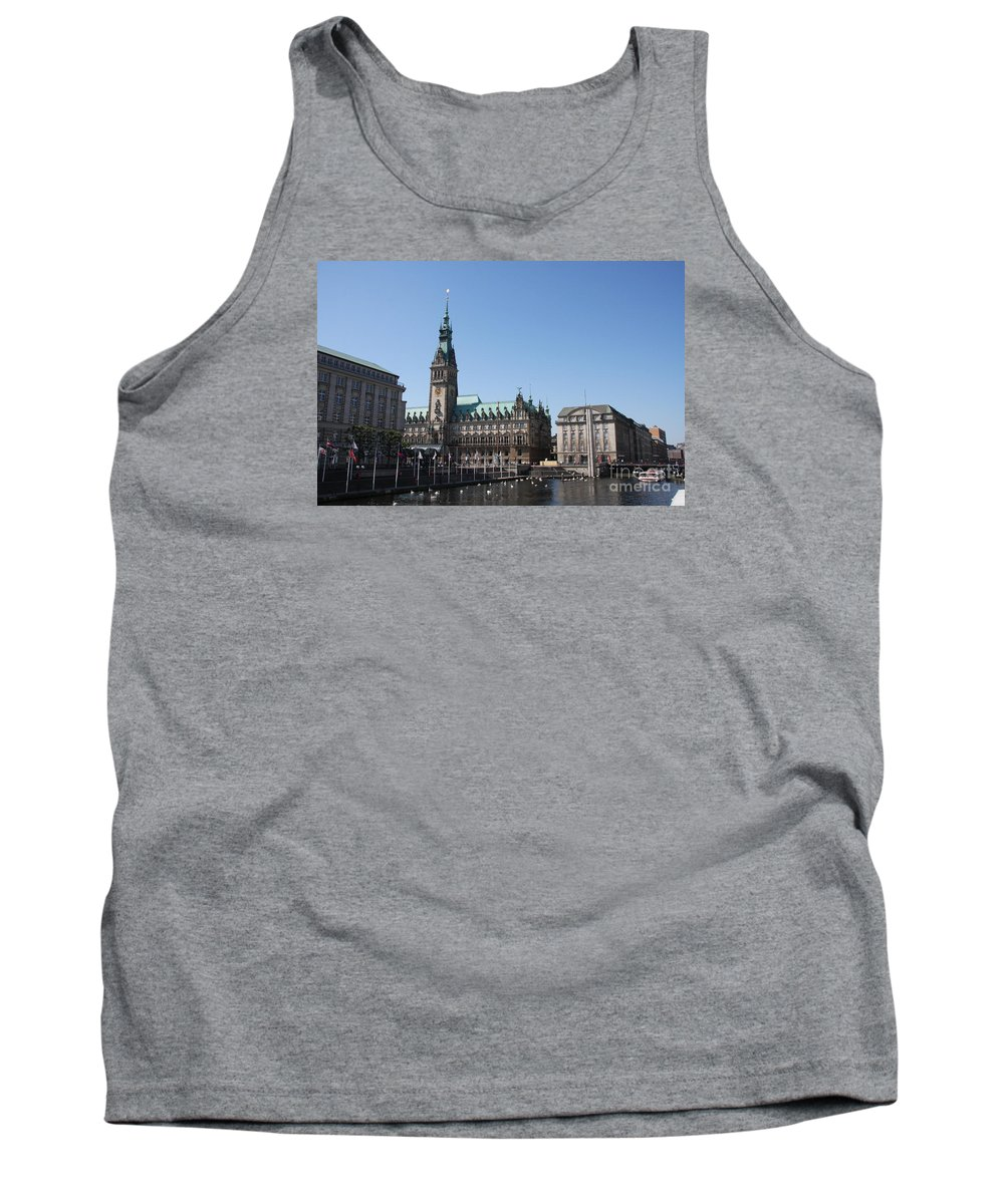 Hamburg Tank Top featuring the photograph Hamburg - City Hall With Fleet - Germany by Christiane Schulze Art And Photography