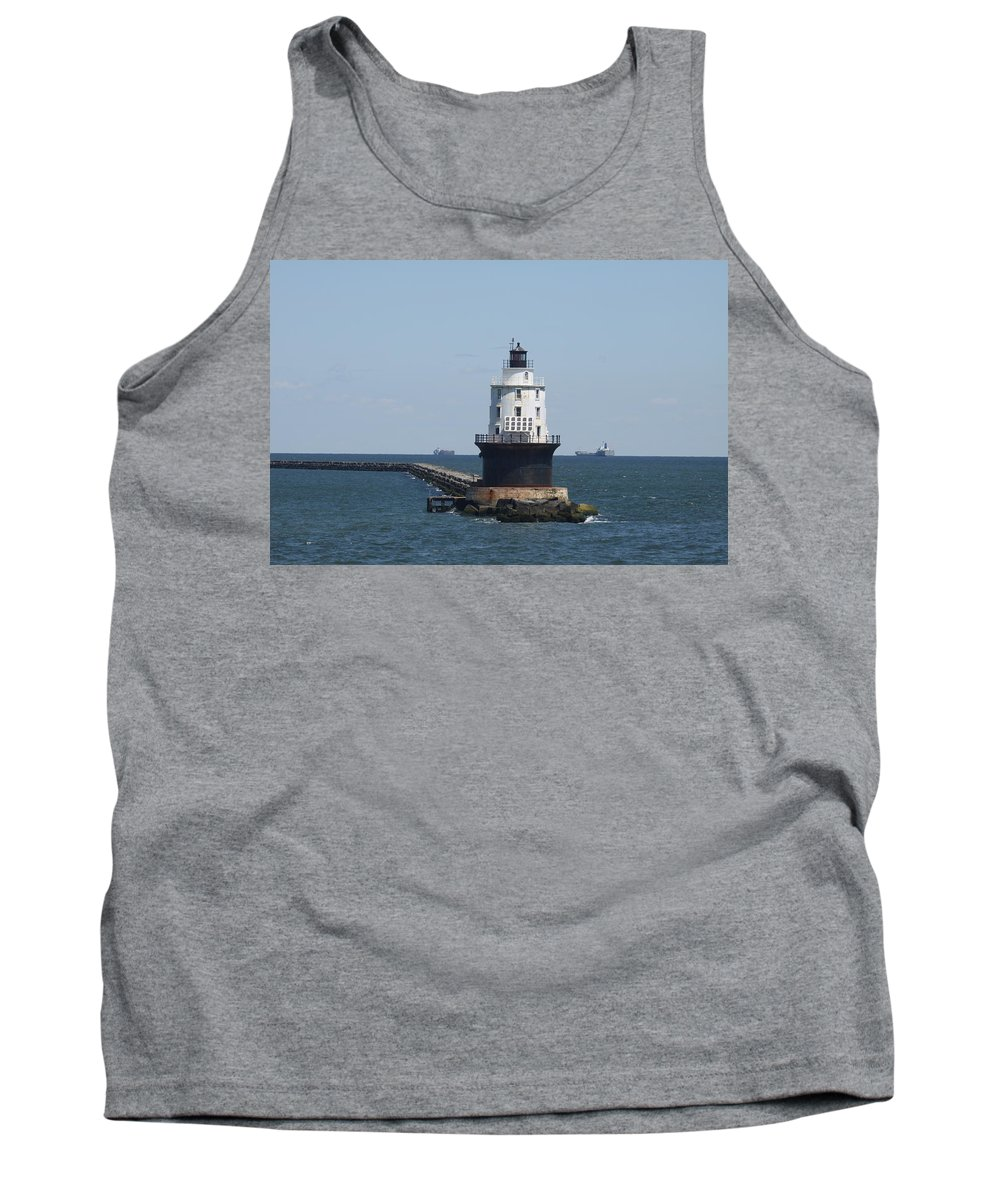 Lighthouse Tank Top featuring the photograph Harbor Of Refuge Lighthouse by Christiane Schulze Art And Photography