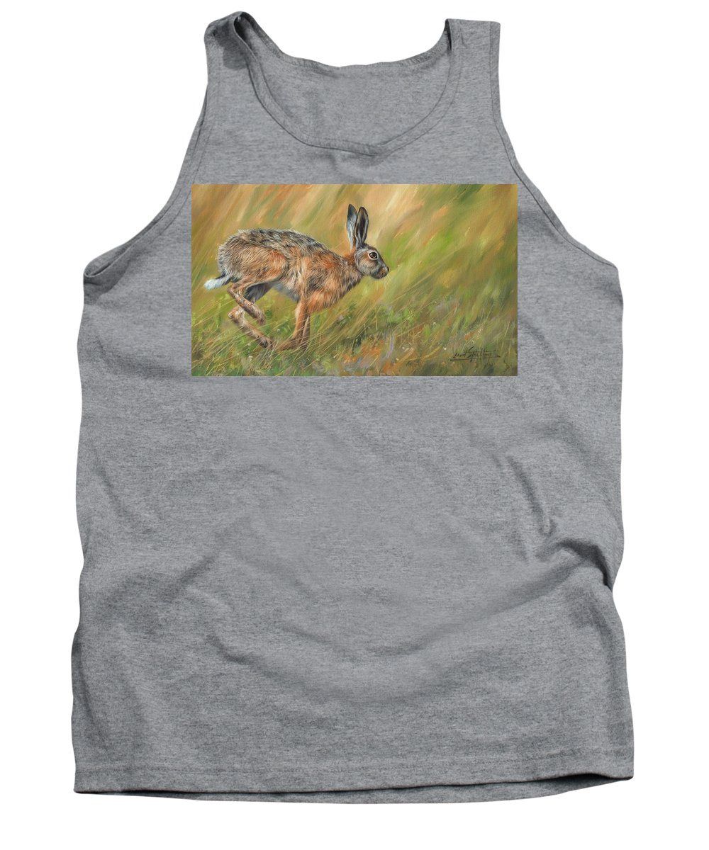 Hare Tank Top featuring the painting Hare by David Stribbling