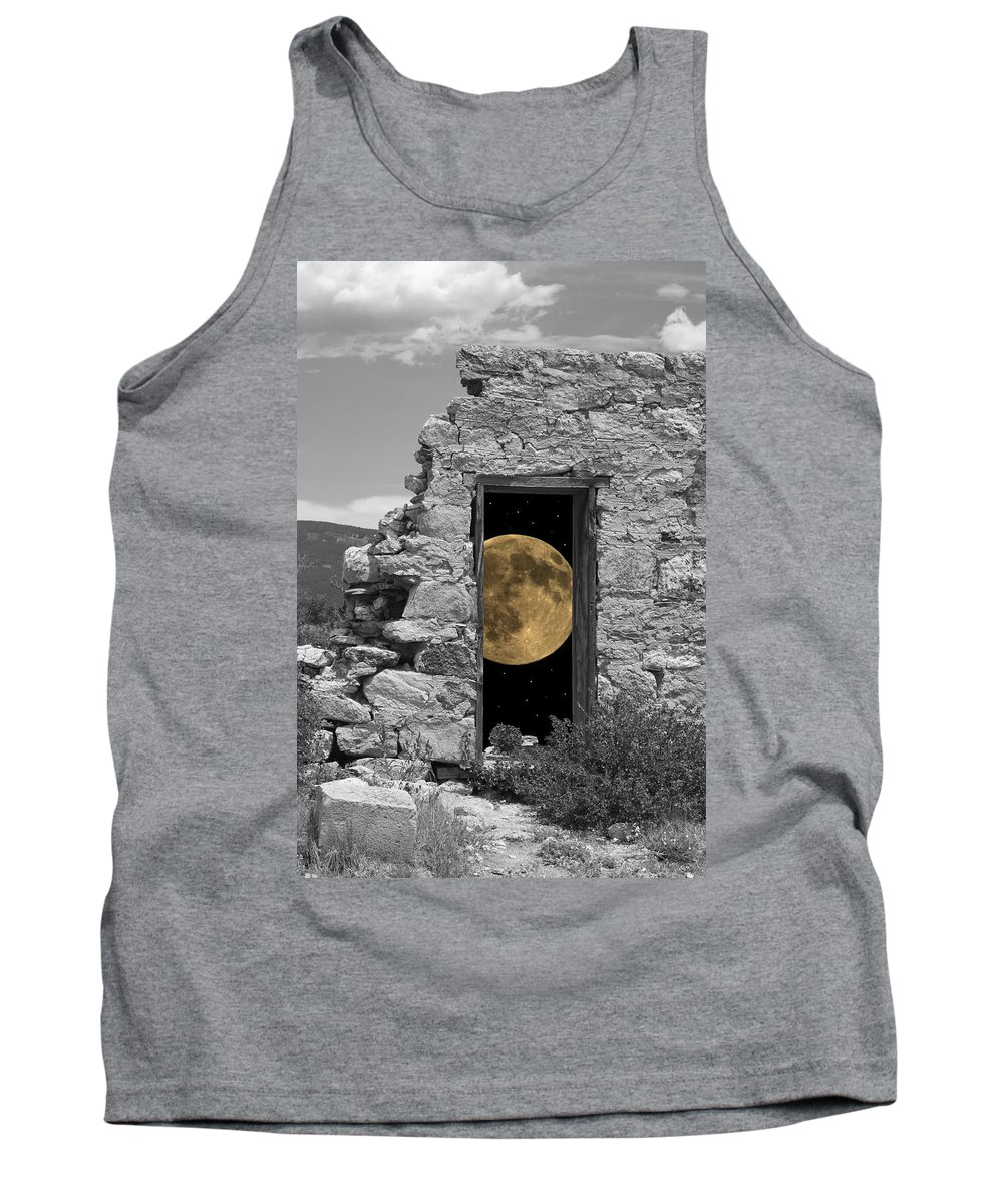 Montages Tank Top featuring the photograph Harvest Moon Through The Magic Door by Greg Wells