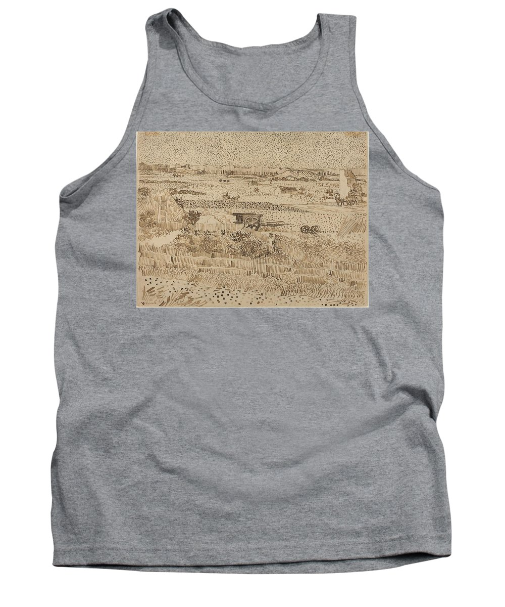 Van Gogh Tank Top featuring the drawing Harvest The Plain Of La Crau by Vincent van Gogh
