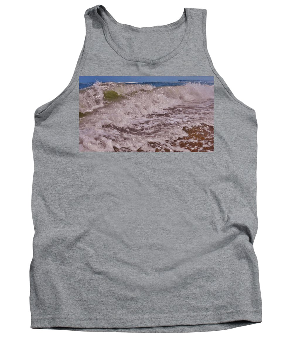 Mark Lemmon Cape Hatteras Nc The Outer Banks Photographer Subjects From Sunrise Tank Top featuring the photograph Hatteras Wave 1 7/21 by Mark Lemmon