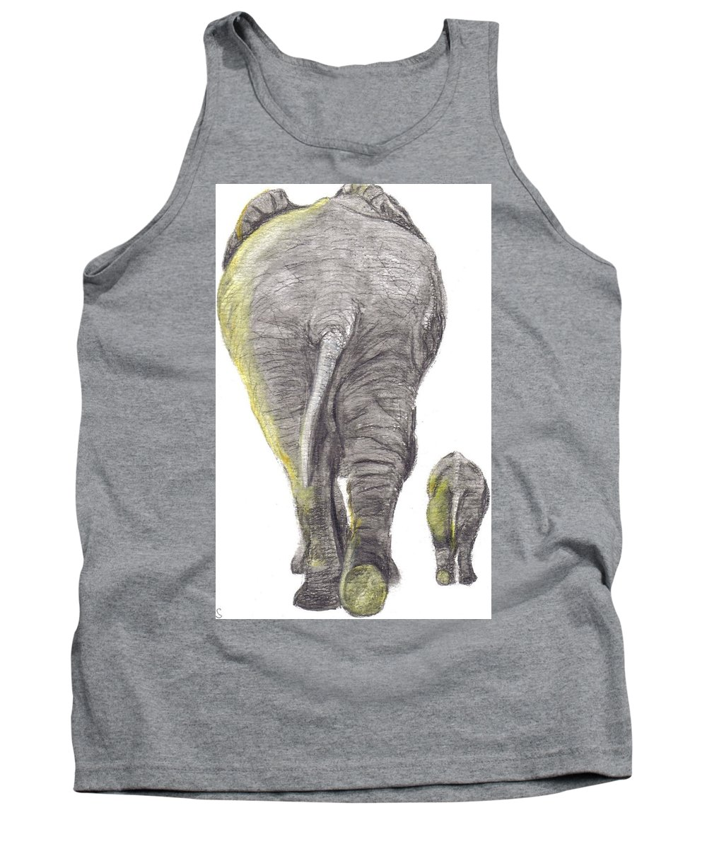 Elephants Tank Top featuring the painting Heading Home by Catherine Swerediuk