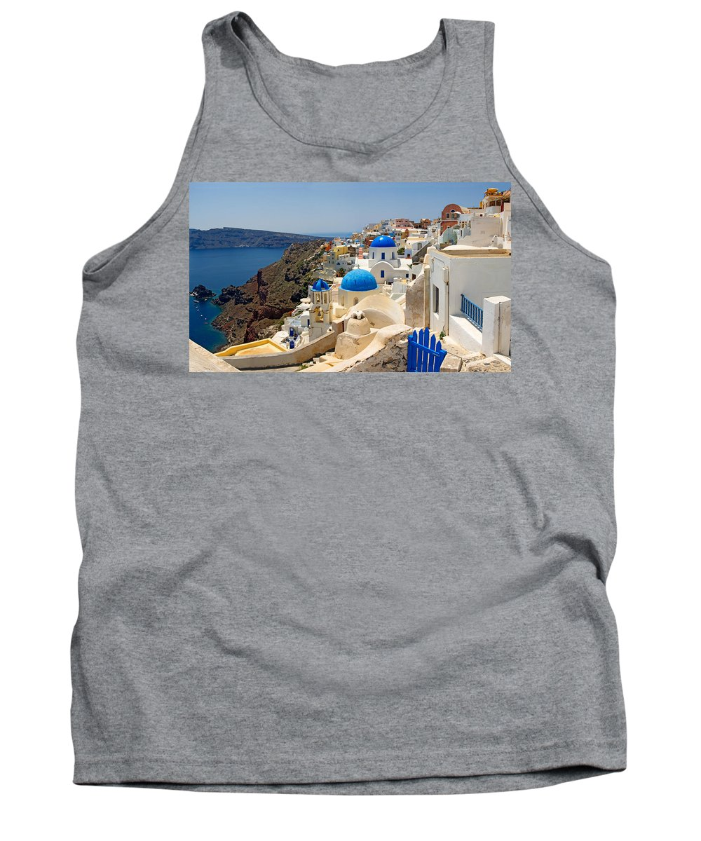 Photography Tank Top featuring the photograph High Angle View Of A Church, Oia by Panoramic Images
