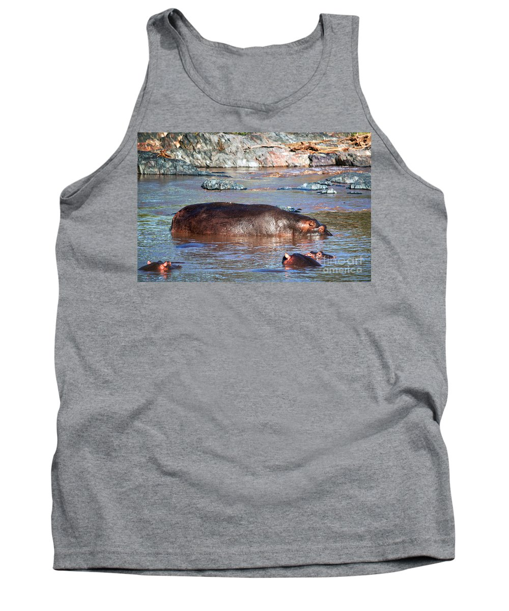 Hippo Tank Top featuring the photograph Hippopotamus In River. Serengeti. Tanzania by Michal Bednarek