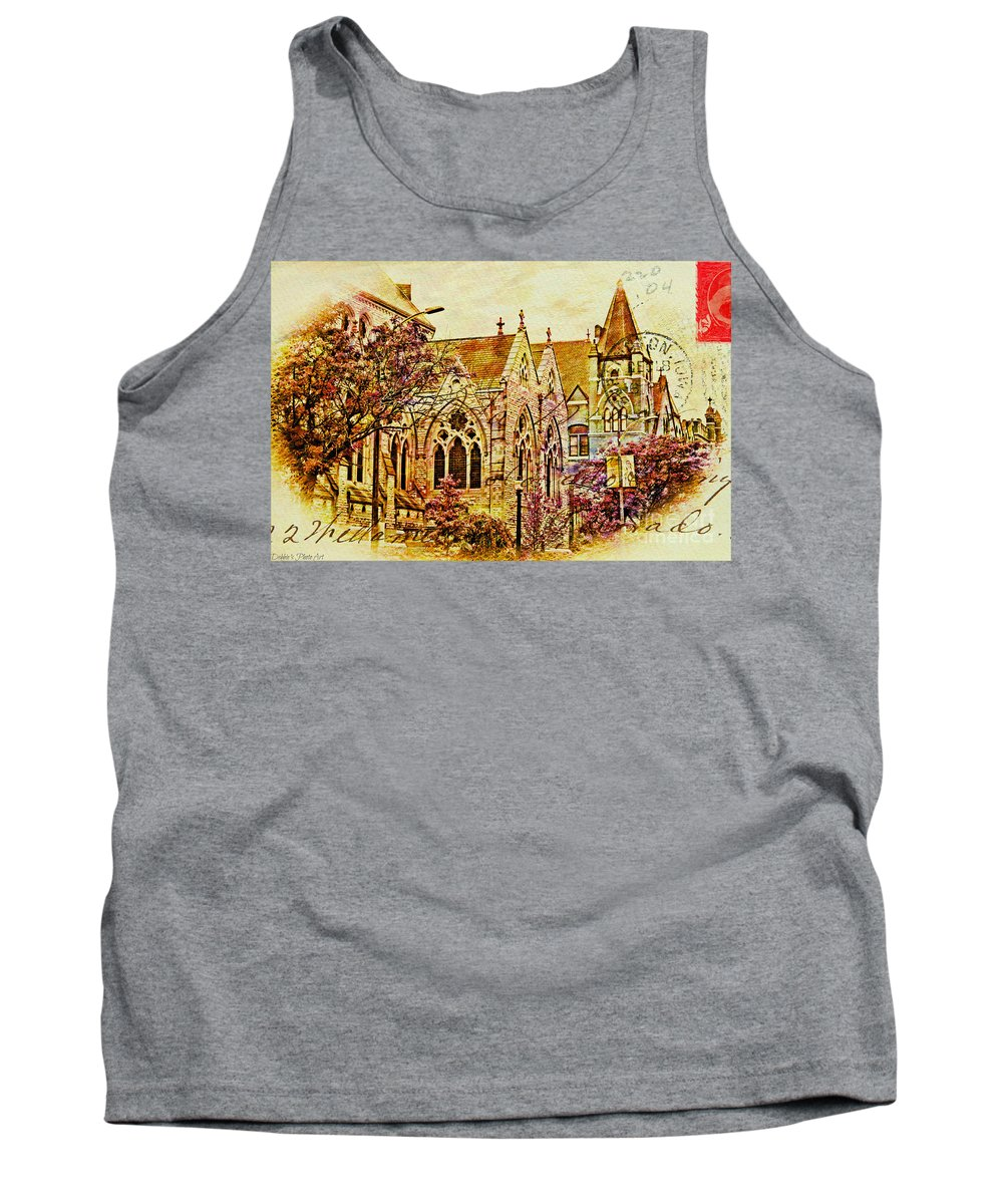 Architecture Tank Top featuring the photograph Historic Chruches St Louis Mo - Digital Effect 3 by Debbie Portwood