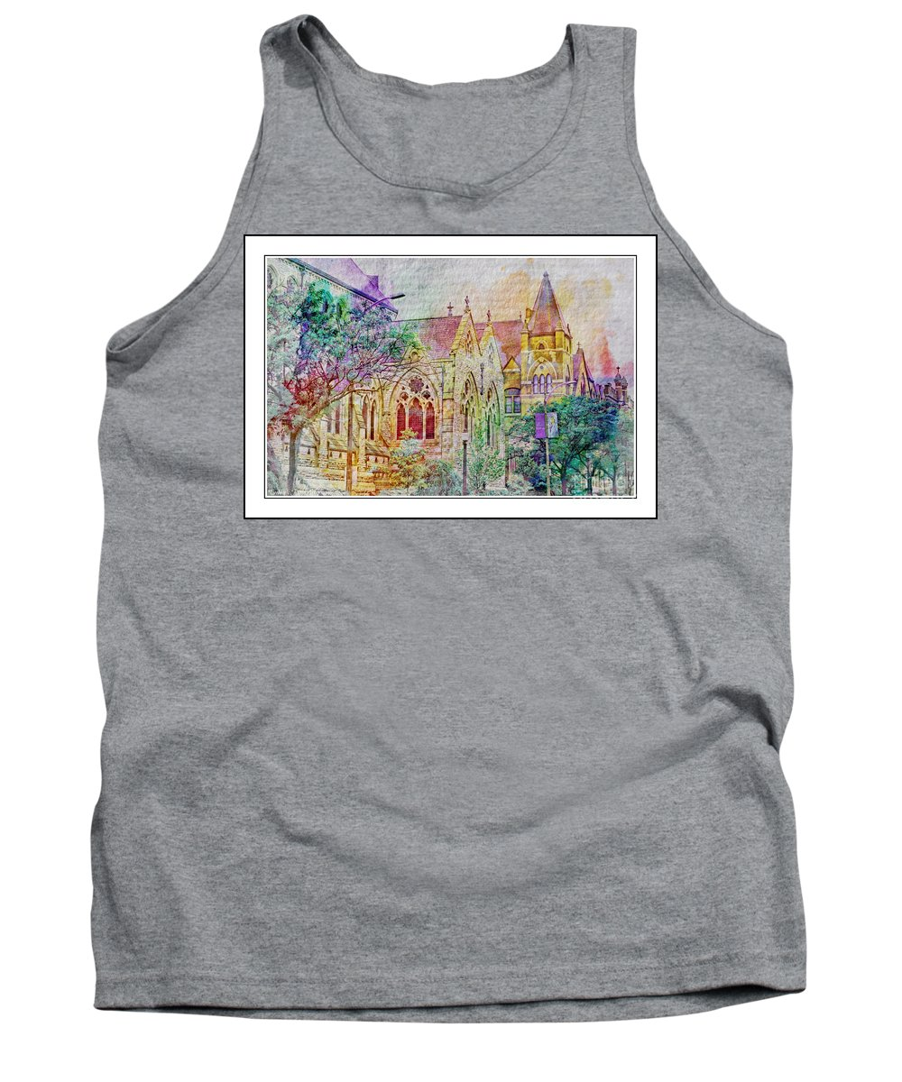 Architecture Tank Top featuring the photograph Historic Churches St Louis Mo - Digital Effect 5 by Debbie Portwood