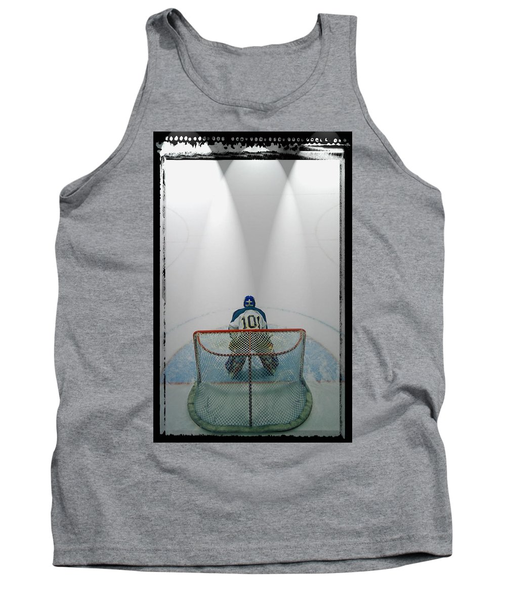 Challenge Tank Top featuring the photograph Hockey Goalie In Crease by Don Hammond