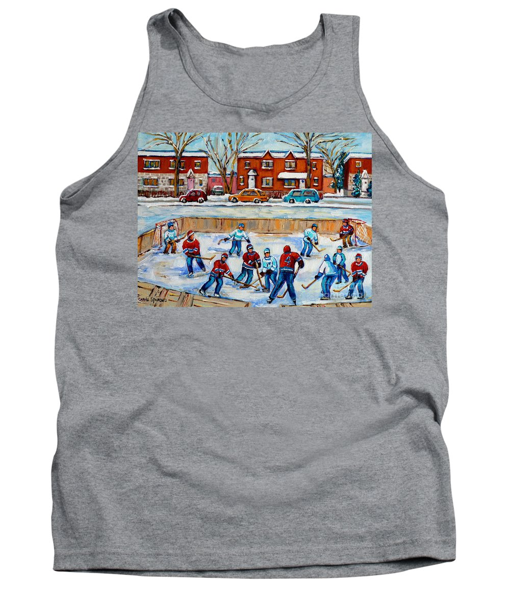 Hockey At Van Horne Montreal Tank Top featuring the painting Hockey Rink At Van Horne Montreal by Carole Spandau
