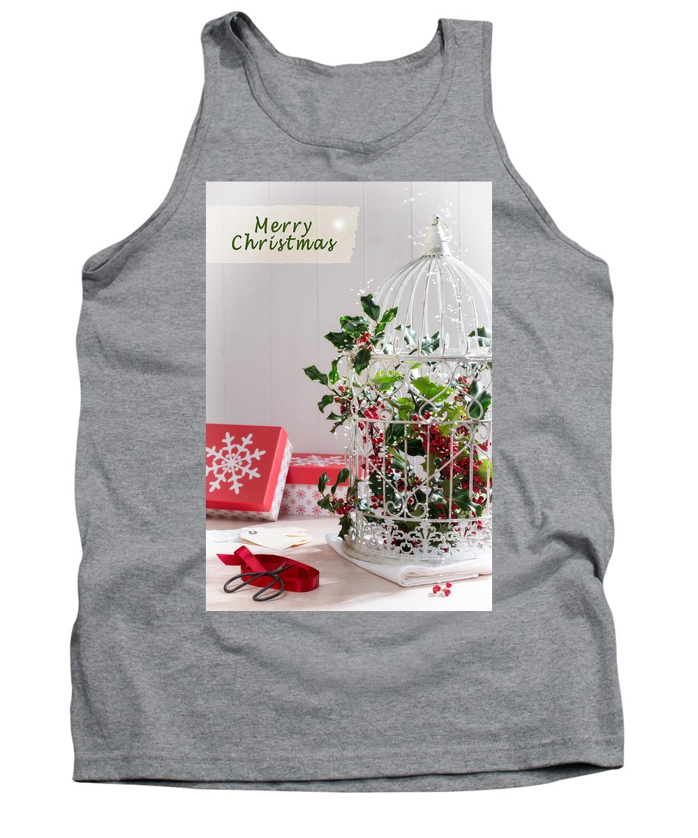 Christmas Tank Top featuring the photograph Holiday Birdcage by Amanda Elwell