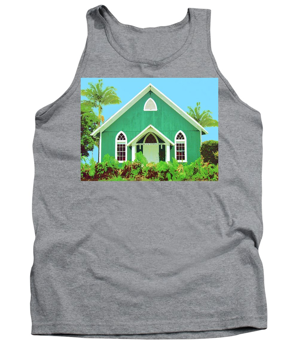 Hawaii Church Tank Top featuring the mixed media Holuoloa Church by Dominic Piperata