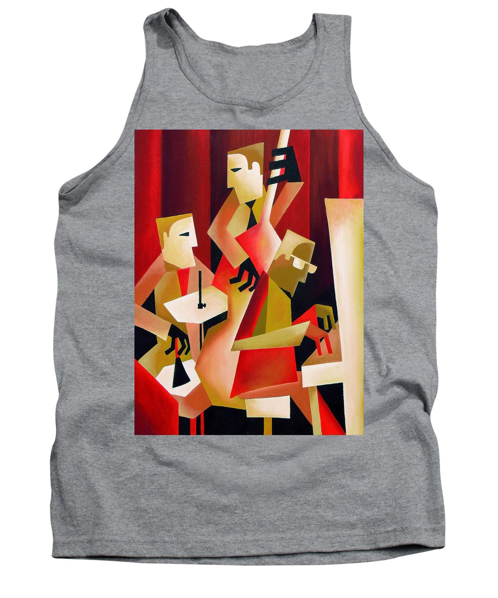 Jazz Tank Top featuring the painting Horace Parlan Trio - Christiania - Copenhagen by Thomas Andersen