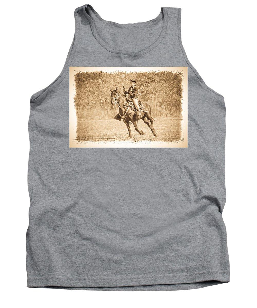 Civil War Tank Top featuring the photograph Horseback Soldier by Steve McKinzie