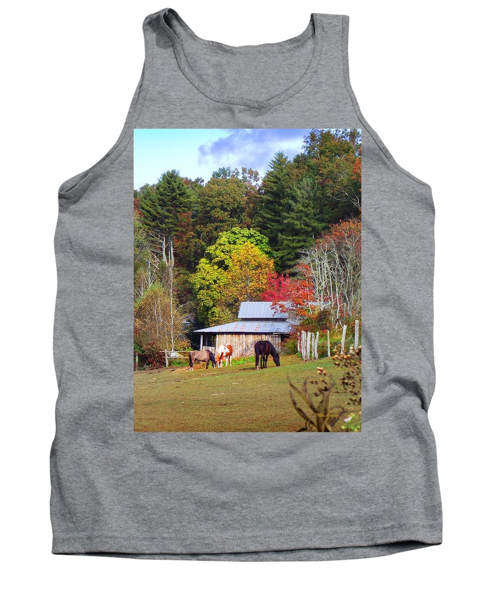 Duane Mccullough Tank Top featuring the photograph Horses And Barn In The Fall by Duane McCullough
