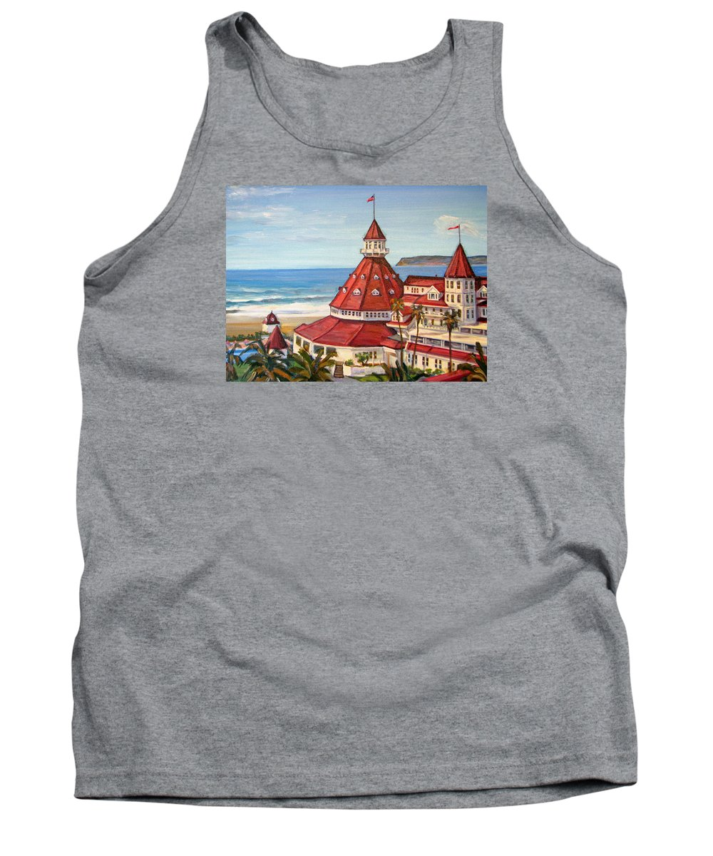 Hotel Tank Top featuring the painting Hotel Del Coronado From Above by Robert Gerdes