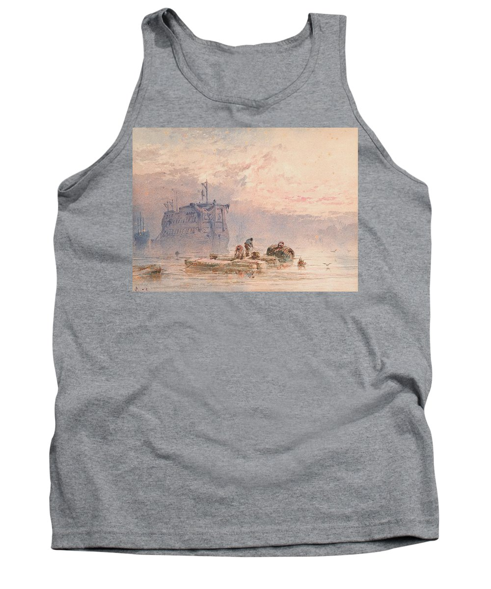 Hulk Tank Top featuring the painting Hulks At Anchor by William Cook of Plymouth