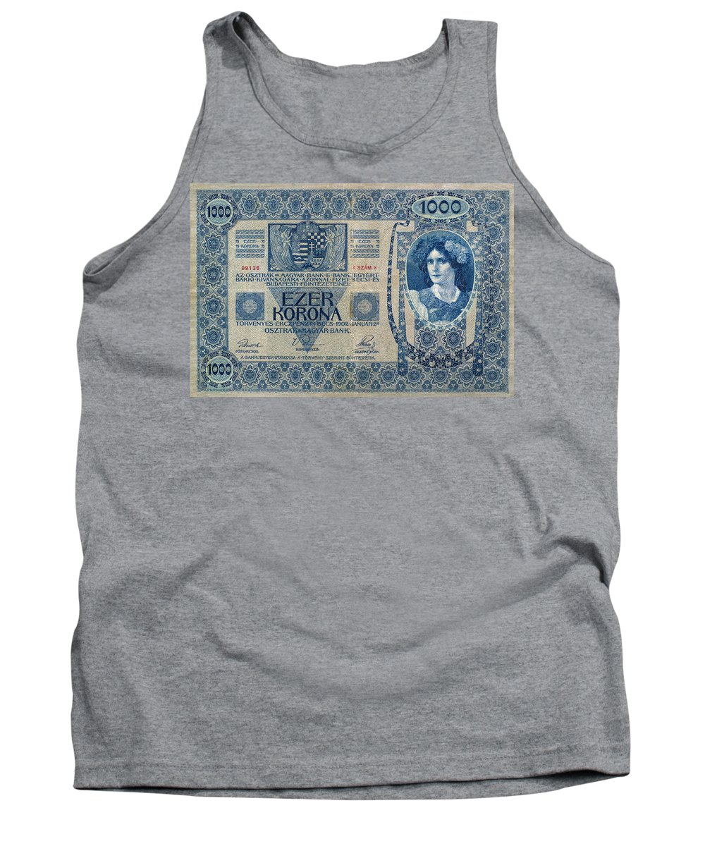 1902 Tank Top featuring the painting Hungary Banknote, 1902 by Granger
