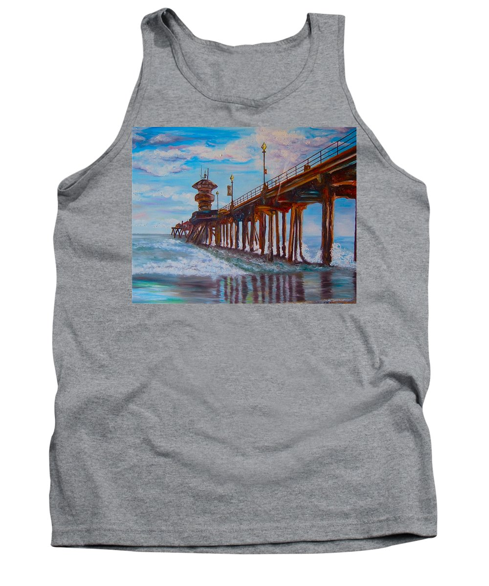 Tourist Tank Top featuring the painting Huntington Beach Pier 2 by Carol Tsiatsios