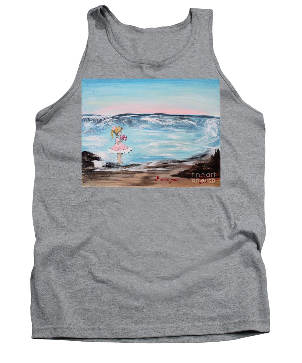 Little Girl Tank Top featuring the painting I Miss You by Linda Lin