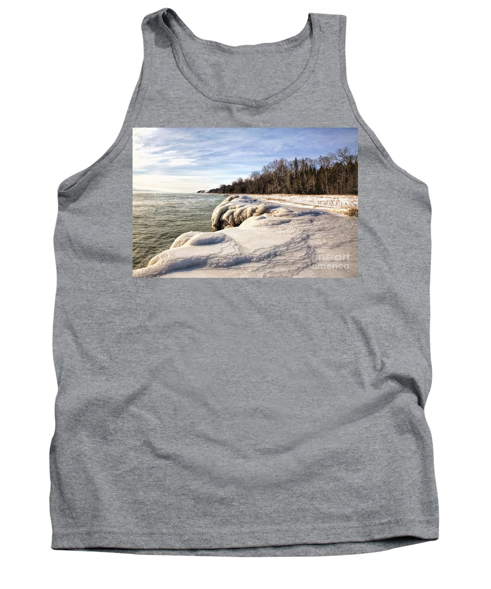 Icy Tank Top featuring the photograph Ice Covered Shores Of Lake Michigan by Nikki Vig