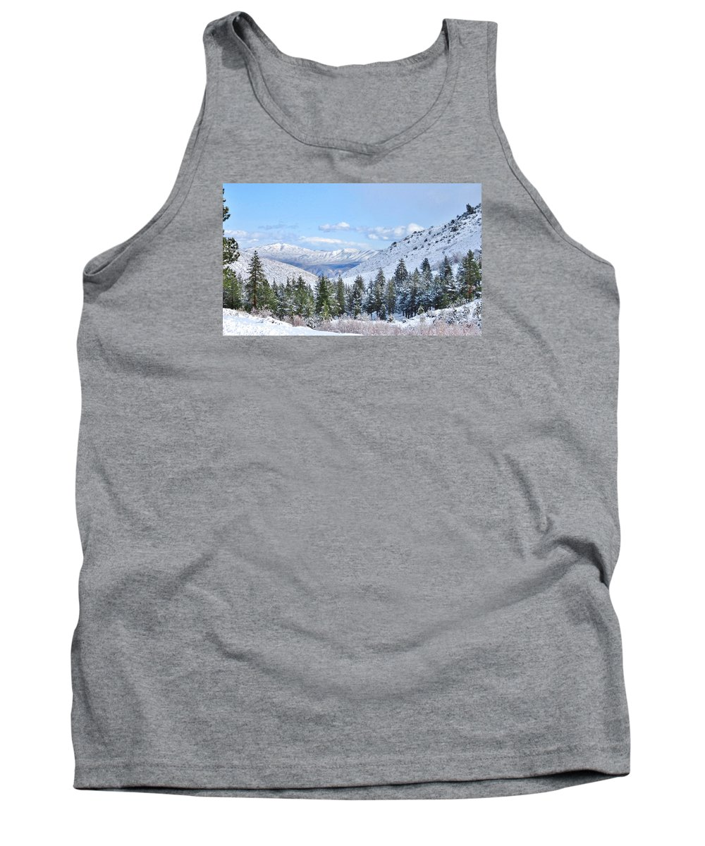 Snowy Pines Tank Top featuring the photograph In The Canyon by Marilyn Diaz