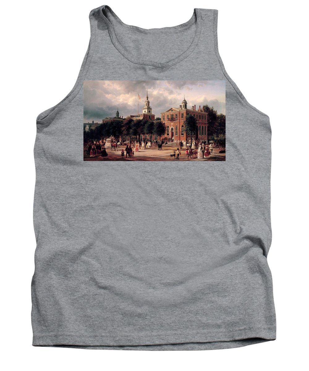 Ferdinand Richardt Tank Top featuring the painting Independence Hall In Philadelphia by Ferdinand Richardt