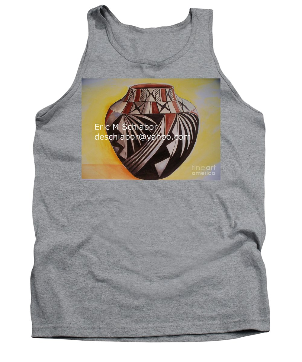 Indian Tank Top featuring the painting Indian Pottery by Eric Schiabor