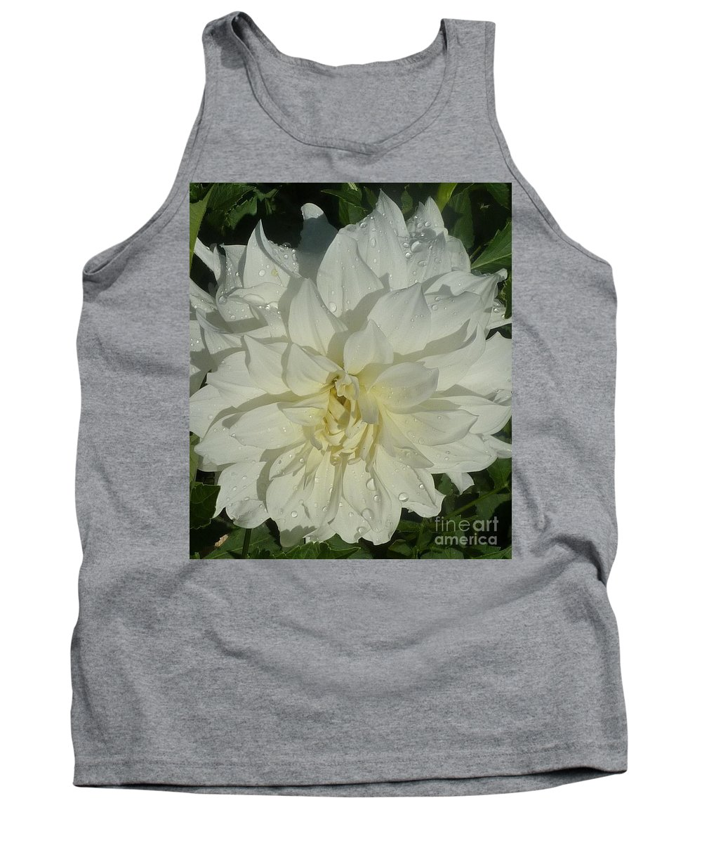 Dahlia Tank Top featuring the photograph Innocent White Dahlia by Susan Garren