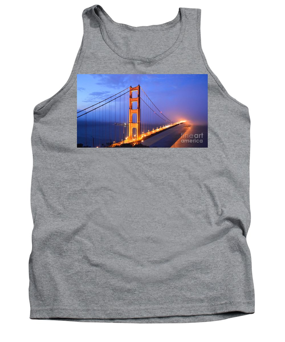 Golden Tank Top featuring the photograph The Golden Gate Bridge by Along The Trail